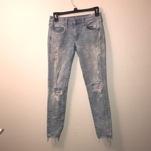 american eagle jegging distressed jeans